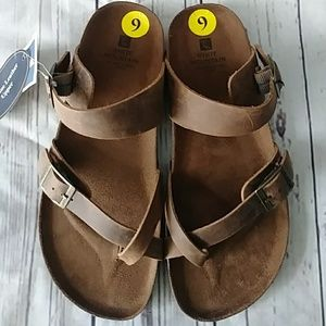 White Mountain GracieToe Loop Brown Sandals Size 9